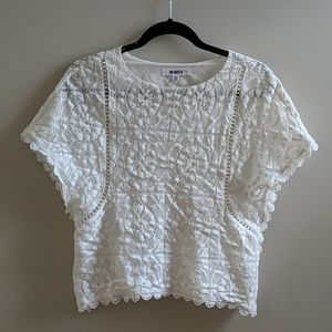 White Lace Short Sleeve Blouse Top BB Dakota XS